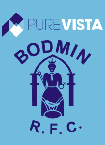 The Pure Vista logo is shown with the Bodmin Rugby Club logo to represent the new sponsorship deal that has begun.